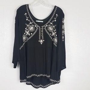 Plus Size * Embroidered Hi Lo Boho Women's Blouse